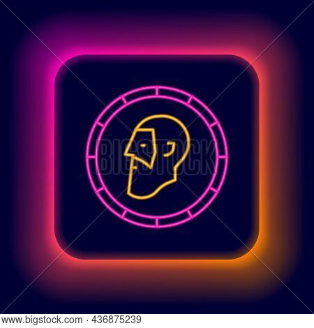 Glowing Neon Line Ancient Coin Icon Isolated On Black Background. Colorful Outline Concept. Vector
