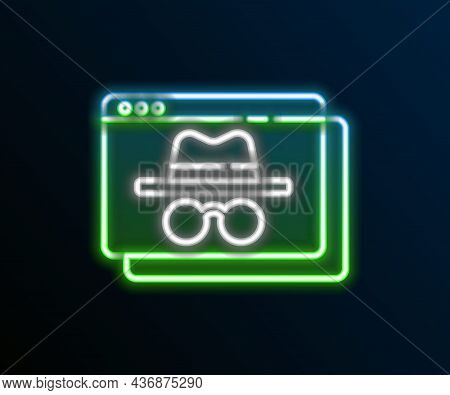 Glowing Neon Line Browser Incognito Window Icon Isolated On Black Background. Colorful Outline Conce