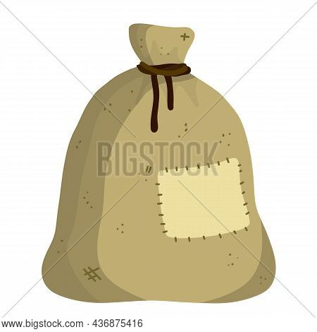 Canvas Burlap Bag. Cartoon Flat Illustration. Rustic Element For Mill. Packaging For Storage Of Grai