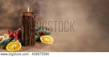 Christmas And New Year Banner, Christmas Candle Is Burning, Christmas Background With Free Space For