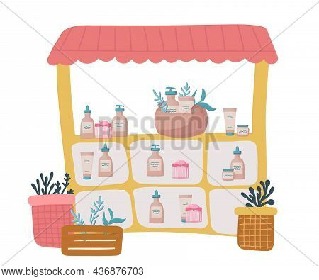 Showcase Stall For The Sale Of Eco-cosmetics At A Local Street Market. Collection Of Jars With Cosme