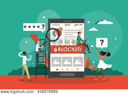 People Are Very Surprised And Feeling Anxious About Blocked User Account, Flat Vector Illustration.