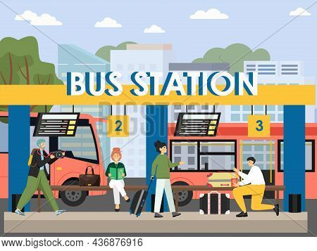 Bus Station Terminal, Flat Vector Illustration. Passengers With Book, Camera, Suitcase Waiting For B