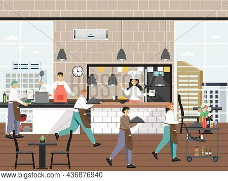 Restaurant Kitchen With Chef And Waiter Characters, Flat Vector Illustration. Restaurant Business, C