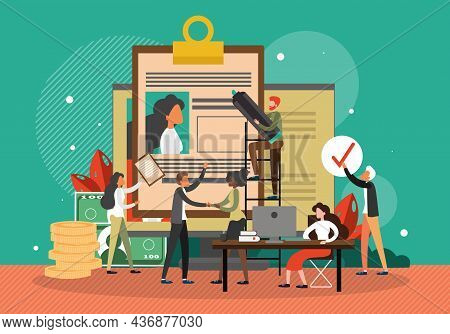 Job Candidate Cv Resume, Vector Illustration. Recruitment. Human Resources, Job Interview, Employmen
