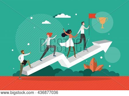 Business Team Members Helping Each Other To Reach The Flag, Vector Illustration. Teamwork, Goal Achi
