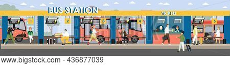 Passengers Buying Tickets At Bus Station, Waiting For Coach, Vector Illustration. Intercity Bus Stop