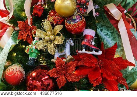 Beautiful Christmas Tree With Decor As Background. Christmas Lights Decorated With Balls On Tree In