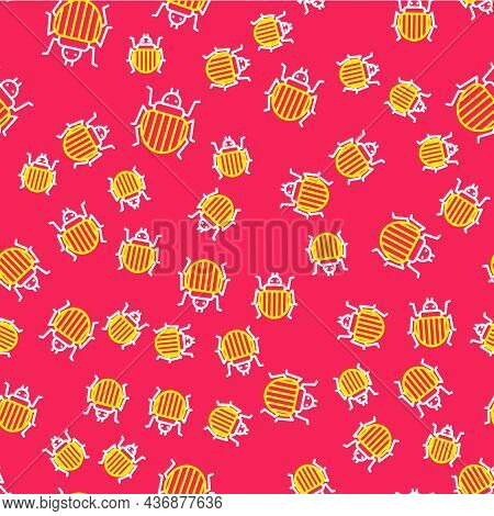 Line Colorado Beetle Icon Isolated Seamless Pattern On Red Background. Vector