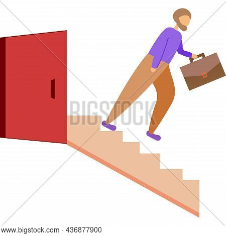 Staff Dismissal Icon Vector Fired Person On Stairs