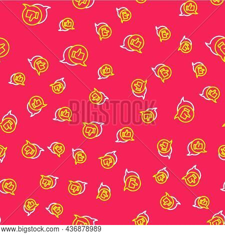 Line Consumer Or Customer Product Rating Icon Isolated Seamless Pattern On Red Background. Vector