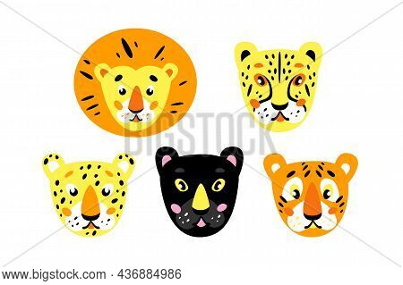 Animal Heads. African Cats: Lion, Cheetah, Leopard, Panther, Tiger. Childrens Cartoon Illustration
