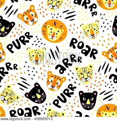 Cartoon Seamless Pattern For Kids. Roaring. Wild Animal Heads: Lion, Cheetah, Leopard, Panther, Tige