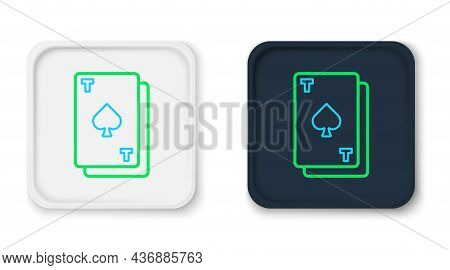 Line Playing Card With Spades Symbol Icon Isolated On White Background. Casino Gambling. Colorful Ou