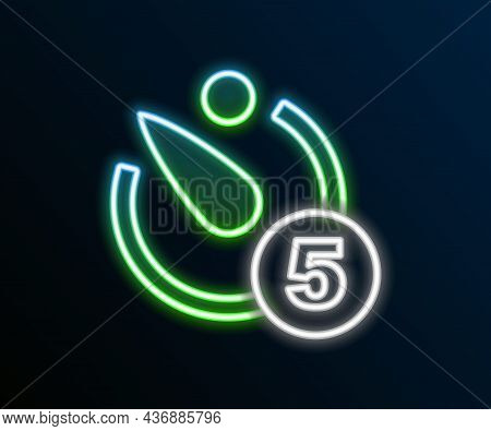 Glowing Neon Line Camera Timer Icon Isolated On Black Background. Photo Exposure. Stopwatch Timer 5
