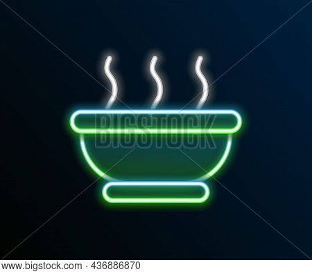 Glowing Neon Line Bowl Of Hot Soup Icon Isolated On Black Background. Colorful Outline Concept. Vect