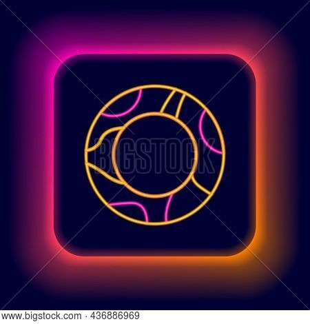 Glowing Neon Line Rubber Swimming Ring Icon Isolated On Black Background. Life Saving Floating Lifeb