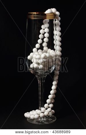 Glass And White Necklace On A Black