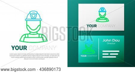 Line Miner In A Helmet Icon Isolated On White Background. Colorful Outline Concept. Vector