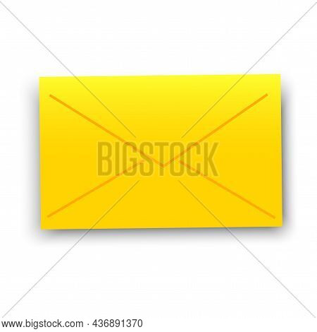 Yellow Envelope Sign. Message Icon. Mail Letter. Post Element. Freehand Design. Vector Illustration.