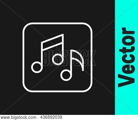 White Line Music Note, Tone Icon Isolated On Black Background. Vector