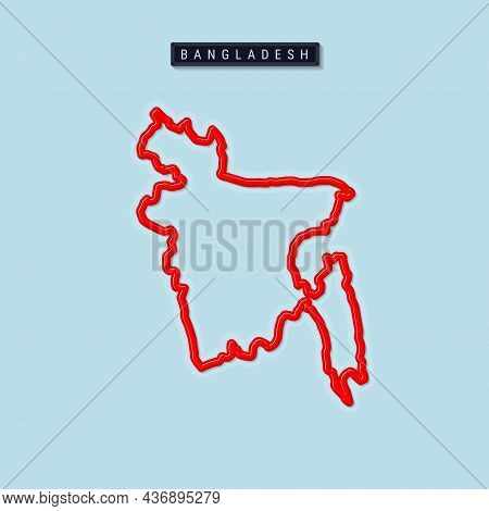 Bangladesh Bold Outline Map. Glossy Red Border With Soft Shadow. Country Name Plate. Vector Illustra