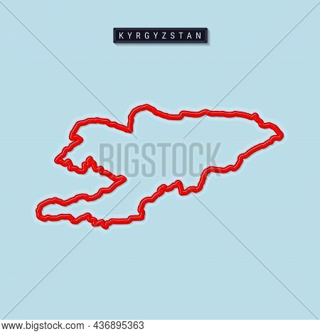 Kyrgyzstan Bold Outline Map. Glossy Red Border With Soft Shadow. Country Name Plate. Vector Illustra
