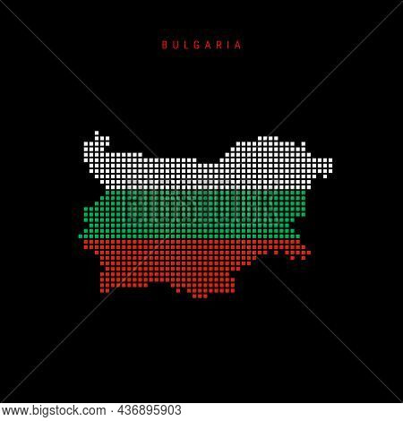 Square Dots Pattern Map Of Bulgaria. Dotted Pixel Map With National Flag Colors Isolated On Black Ba
