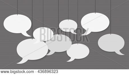 Blank White Speech Bubbles Hanging From A Cord. 3d Vector Illustration On Grey Background.