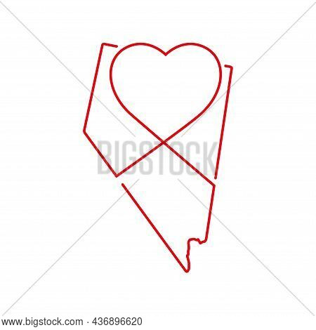 Nevada Us State Red Outline Map With The Handwritten Heart Shape. Continuous Line Drawing Of Patriot