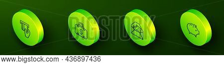 Set Isometric Line Credit Card Inserted, Briefcase And Money, Envelope With Dollar Symbol And Piggy