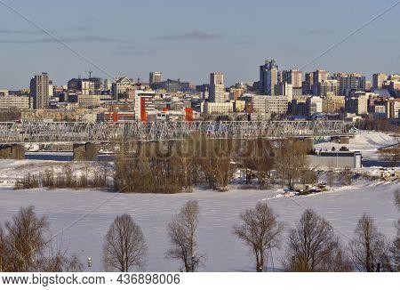 Novosibirsk, Siberia, Russia - 02.20.2020: Bridge Over The Ob On The Background Of Novosibirsk. High