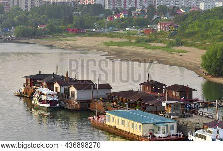 Novosibirsk, Siberia, Russia-08.10.2019: Berth With Ships On The Ob River. Stylized Antique Pleasure