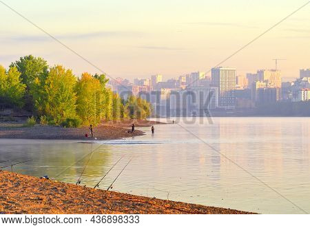 Novosibirsk Region, Siberia, Russia - 08.30.2020: Fishermen On The Banks Of The Ob. The Capital Of S