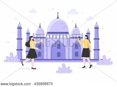 Travel To India Background Vector Illustration. Time To Visit The Icon Landmarks Of These World Famo