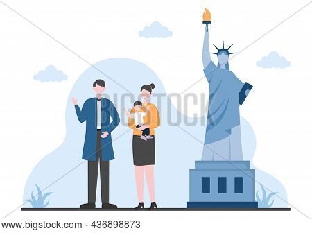 Travel To Usa Background Vector Illustration. Time To Visit The Icon Landmarks Of These World Famous