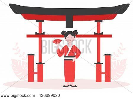 Travel To Japan Background Vector Illustration. Time To Visit The Icon Landmarks Of These World Famo