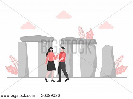 Travel To England Background Vector Illustration. Time To Visit The Icon Landmarks Of These World Fa