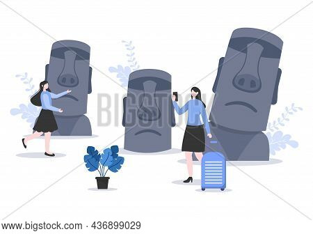 Travel To Easter Island Background Vector Illustration. Time To Visit The Icon Landmarks Of These Wo