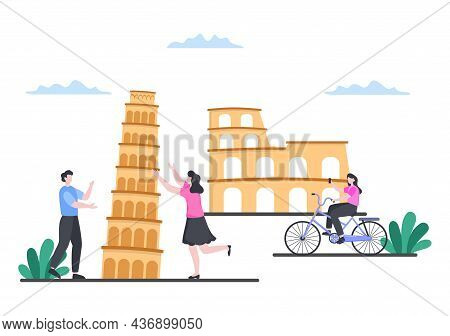 Travel To Italy Background Vector Illustration. Time To Visit The Icon Landmarks Of These World Famo