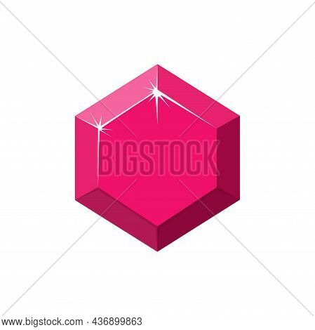 Hexagon Red Gemstone. Ruby Top View. Cartoon Vector Illustration Isolated In White Background