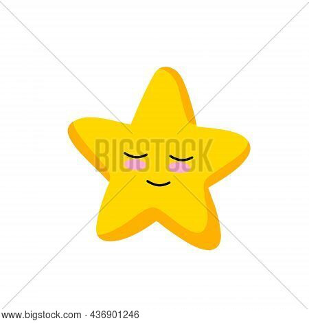 Cute Star. Element Of Night And Nature. Yellow Object. Cartoon Illustration. Children Drawing. Space