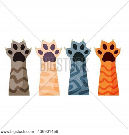 Set Of Different Paw. Cat Hands Of Different Colors. Collection Of Breeds Of Pets. Spots And Stripes