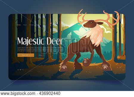 Majestic Deer Banner With Big Stag In Forest. Vector Landing Page Of Wildlife Nature With Cartoon Il