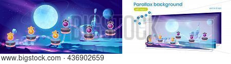 Space Game Level Map With Complete Stages With Gold Stars And Alien Planet Landscape. Vector Paralla