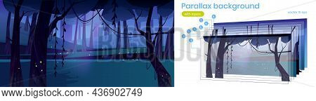 Parallax Background Night Forest, Nature 2d Landscape, Mysterious Wood With Moonlight Glow And Flyin