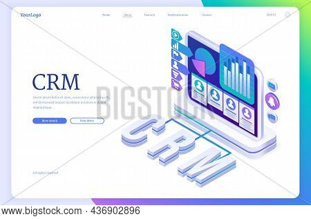 Crm Banner. Concept Of Customer Relationship Management, Marketing Strategies And Technologies For M
