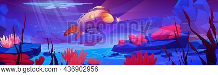 Underwater Sea Landscape With Submarine, Aquatic Plants And Animals. Vector Cartoon Illustration Of