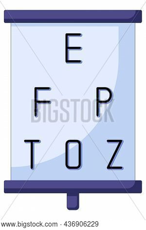 Icon Of Ophthalmologist Testing Eyesight Pointing At Eye Chart Symbols, Icon In A Flat Style. Vision