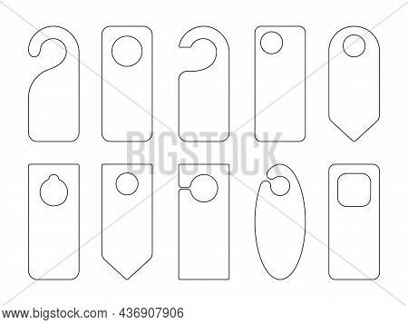 Hotel Door Hanger Tags Outline Template Icon Signs Set Flat Style Design Vector Illustration. Empty